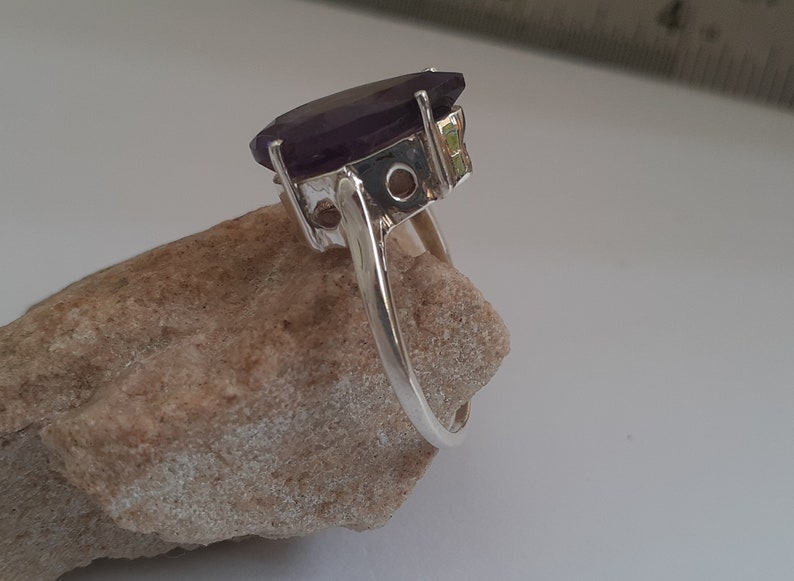 Gift 925 Solid Sterling Silver Ring-Natural Purple Amethyst Ring-Handmade Jewelry-Cocktail Ring-Birthstone Ring-Big Ring-Size US 5-10