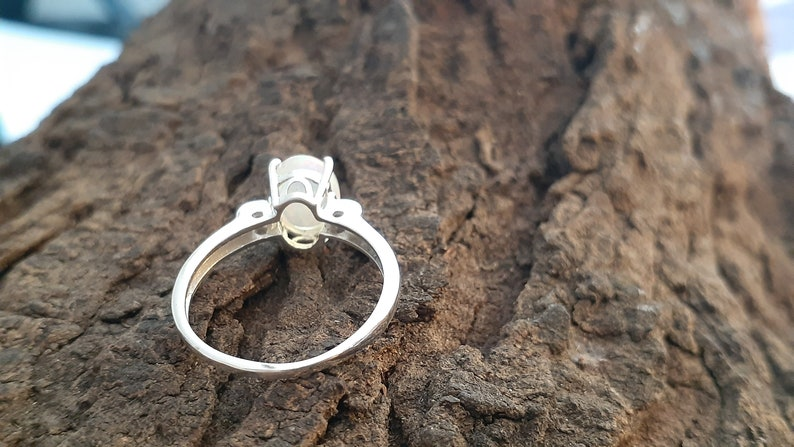 100/% Natural Ethiopian Welo Fire Opal Ring-925 Solid Sterling Silver-Jewelry Handmade-Prong Set-Fine Jewelry-Solitaire Ring-Size US 5-10