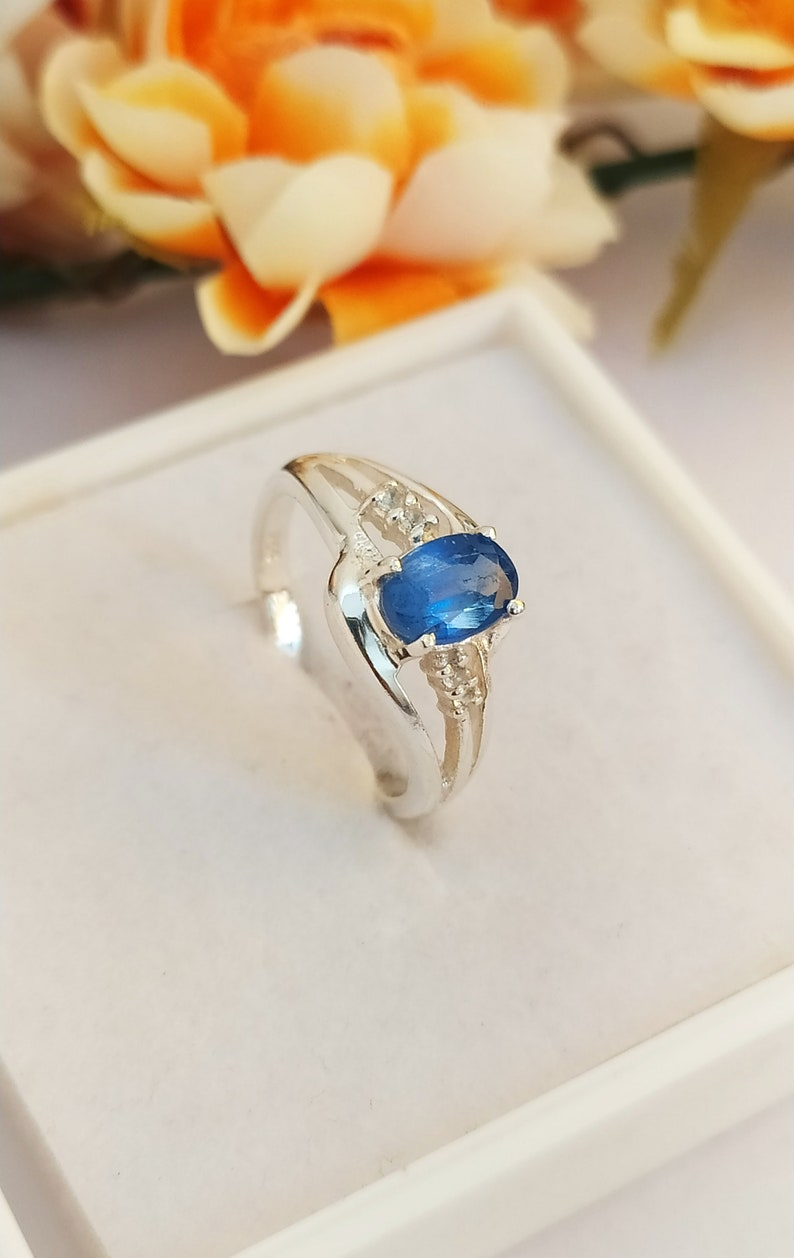 Ethnic Jewelry Handmade Gemstone Ring 925 Sterling Silver Plated Jewelry Vintage Jewelry Ring Natural White Topaz Ring Size US 5