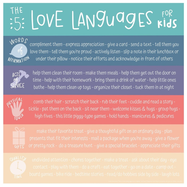 5 Love Languages for Kids Printable image 0