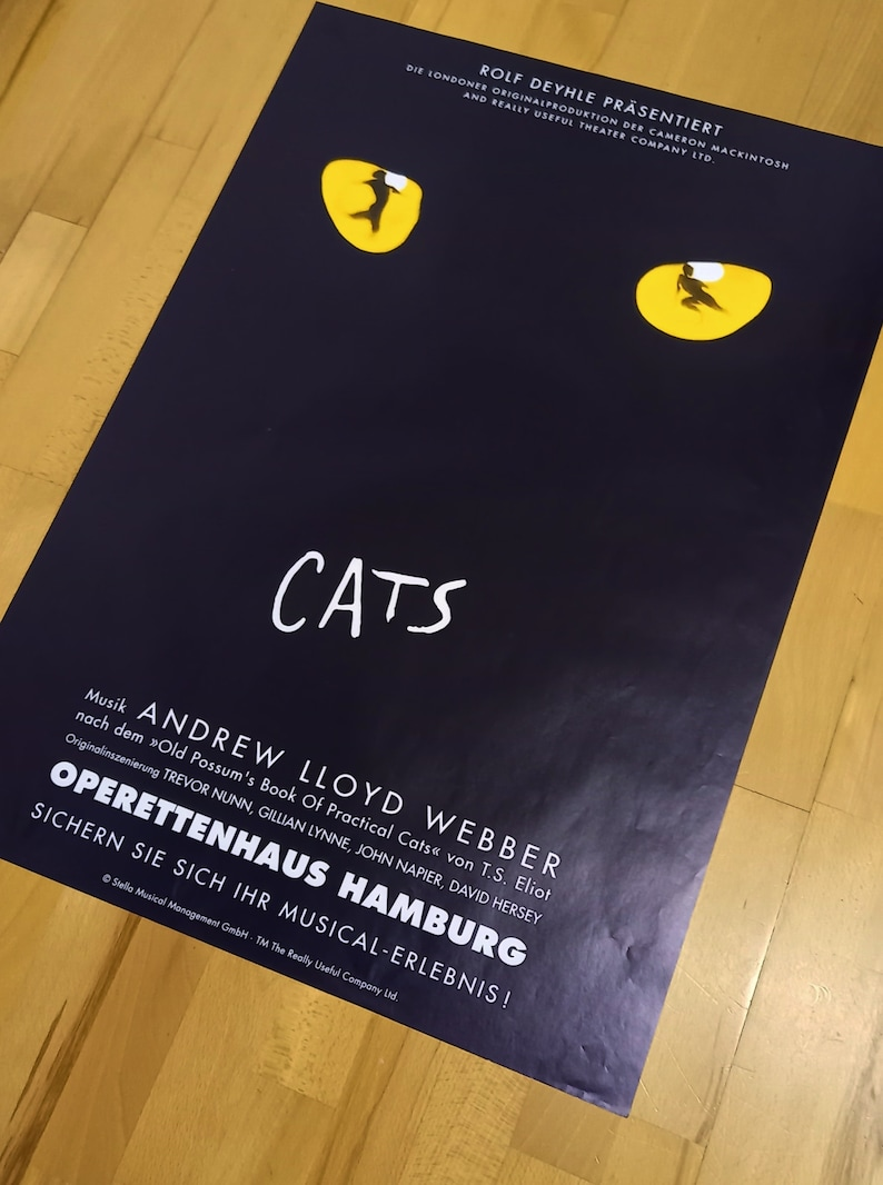 Musical Poster CATS Poster from the 8090s Musical Success Well Preserved