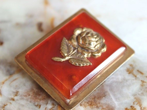 Bakelite Brooch with carved rose, vintage bakelite
