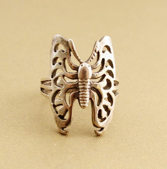 Vintage Sterling Silver butterfly ring, butterfly