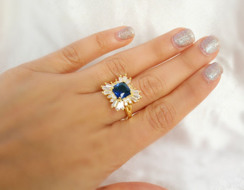 Vintage Style Sapphire cluster ring gold sapphire ring SZ US 6.75-7 gold rings gift for her vintage rings vintage inspired something blue