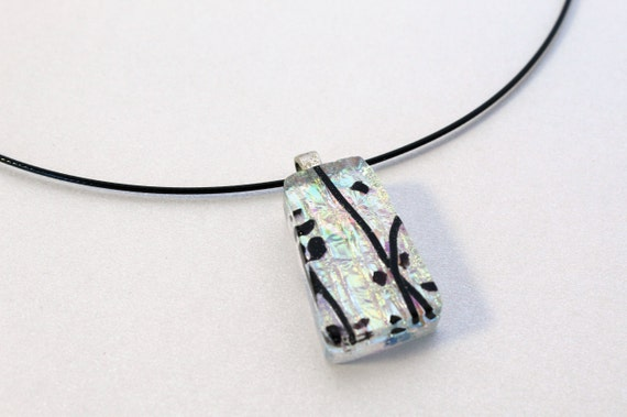black black rectangle necklace in fusing glass and silver boho style