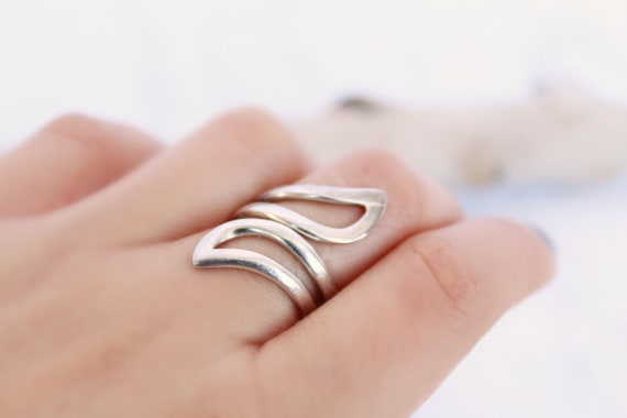 Silver Bypass Ring, Size 5 Boho Silver ring, long