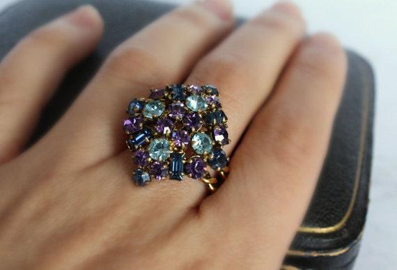 Rhinestone Ring, Cocktail Ring, Designer rings, Sa