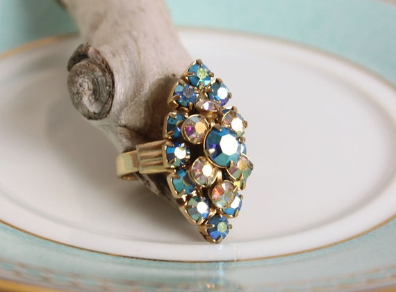 Aurora Borealis Crystal Ring,vintage rings Crystal