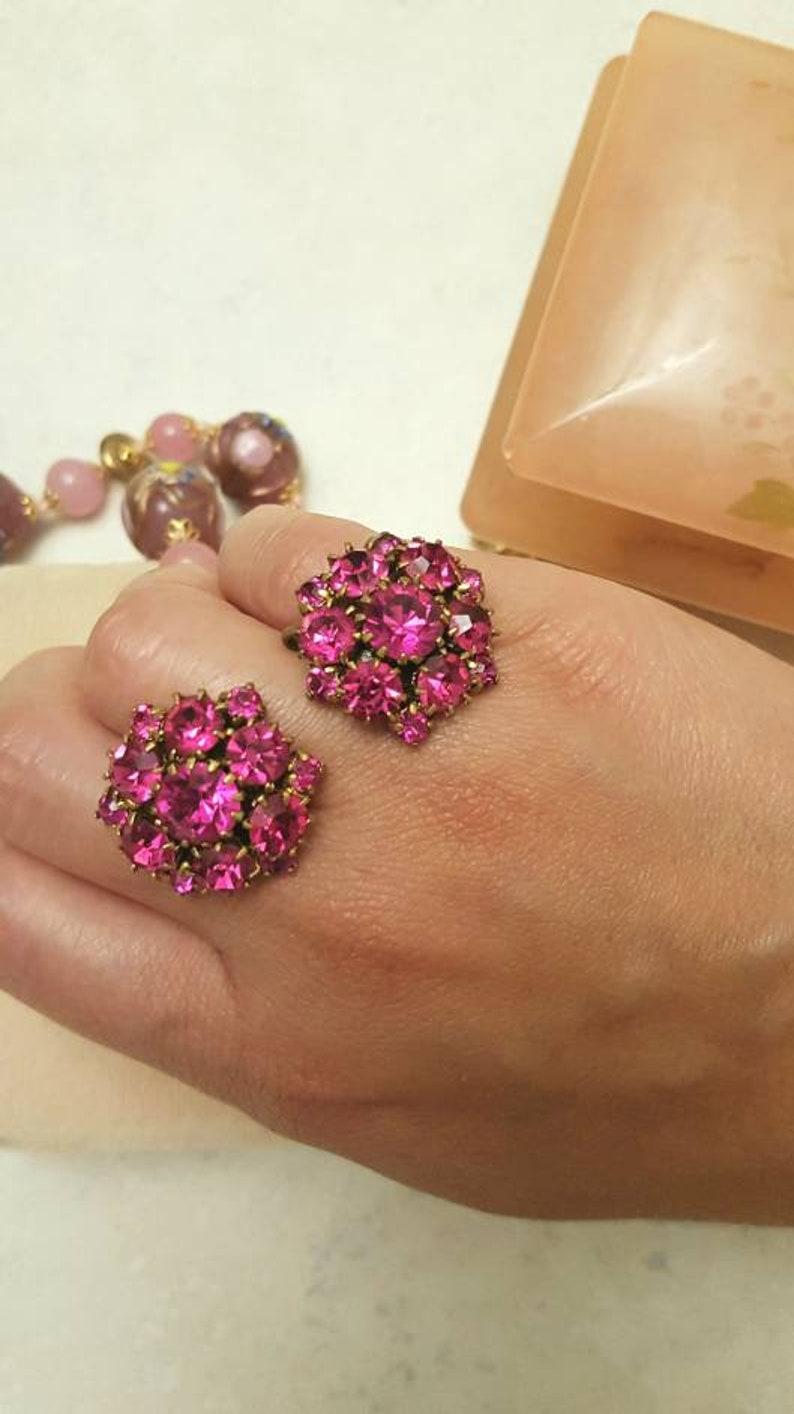 screwback earring cluster earrings Hot pink Rhinestone Cluster earring 1950s Jewelry hot pink earrings statement earring pink earrings