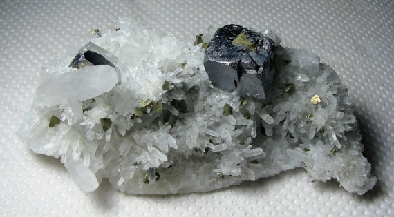 Excellent rare crystals galena with calcite on quartz from the famous 9th of September mine Madan,Bulgaria Natural crystal Top condition