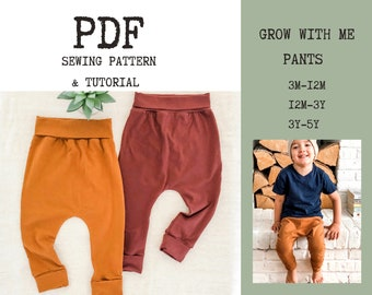 Grow With Me Pants PDF Sewing Pattern and Tutorial | Baby and Toddler Harem Pants | Digital Pattern