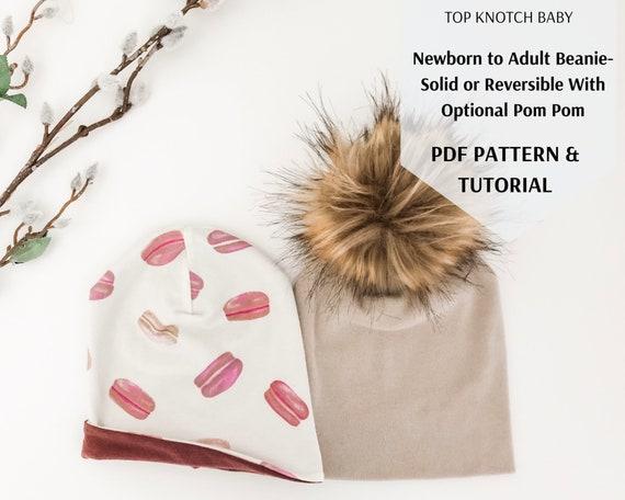 Beanie PDF Pattern and Tutorial | Newborn to Adult Digital Pattern | Solid Beanie, Reversible Beanie, Pom Pom Beanie | Baby, Kid, Adult Hat