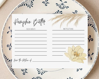 Ranch Table Recipe Card Template, Editable Recipe Card Template, Instant Download, Bridal Shower Recipe Insert, Recipe Cards Printable, 4x6
