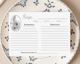 Rustic Flower Recipe Card Template   Editable Recipe Card Template, Instant Download, Bridal Shower Recipe, Recipe Cards Printable, 4x6