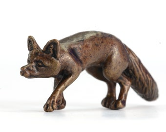 bonsai art countryside animal collectible Miniature bronze lying fox sculpture