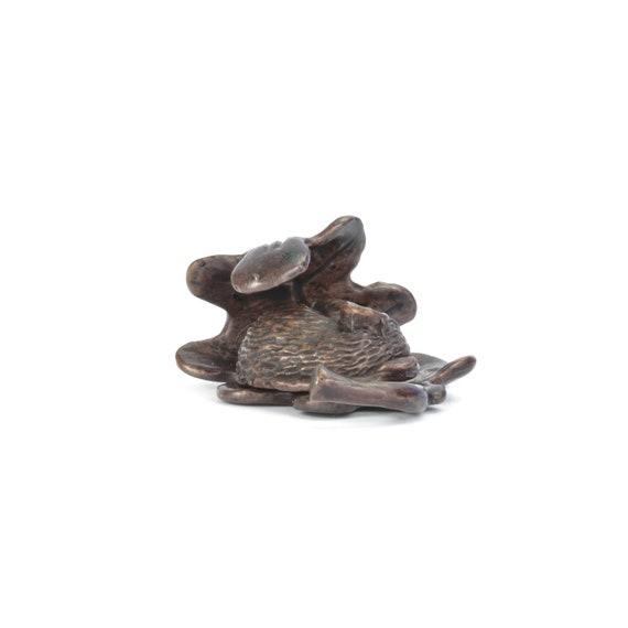 Otter on rocks miniature solid bronze wildlife sculpture bonsai figurine