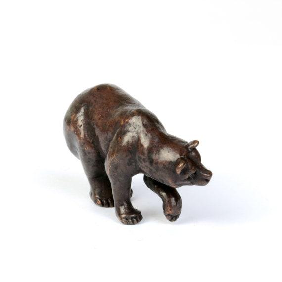 Bronze roaring stag miniature metal wildlife bonsai figurine