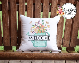 Floral Water Pail Custom Pillow Cover