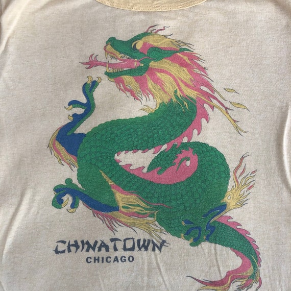 Vintage Chicago CHINATOWN Yellow T Shirt, Large