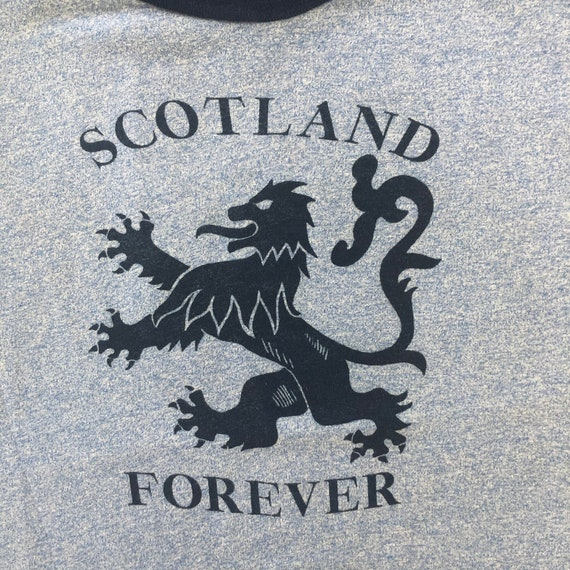 Vintage SCOTLAND FOREVER Heather Blue Ringer T Shi