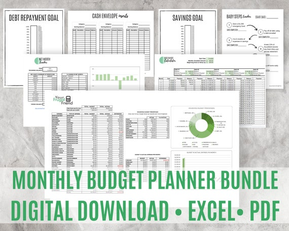 Monthly Budget Spreadsheet, Finance Planner, Debt Snowball Calculator, Savings Goal, Money Planner, Editable PDF
