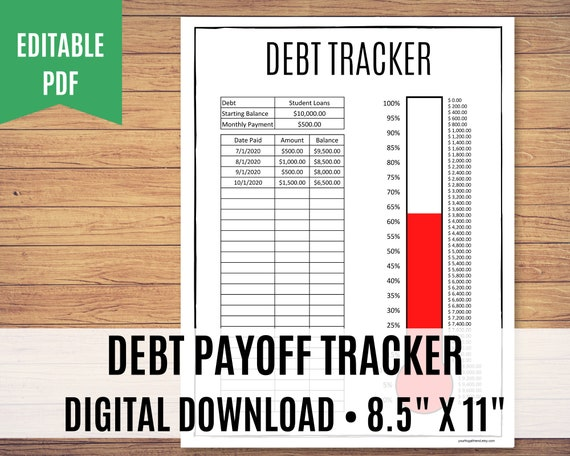 Debt Tracker Printable, Debt Free, Debt Payoff, Editable PDF - Calculations done for you!