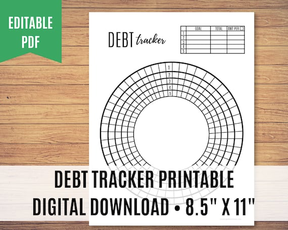 Debt Tracker Printable, Debt Payoff Printable, Debt Free Chart, Editable PDF