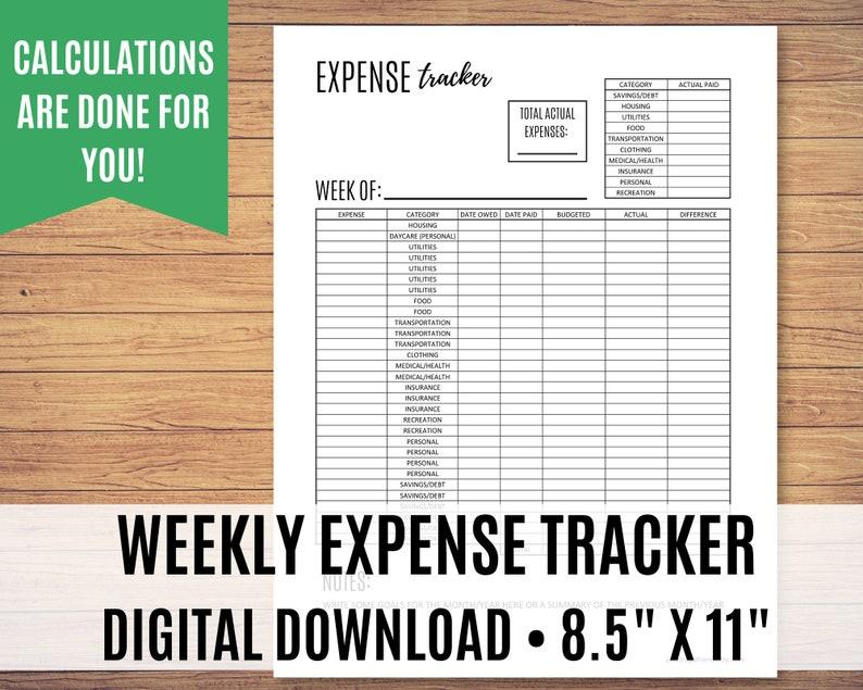 Weekly Expense Tracker Printable Bill Tracker Money Tracker image 0