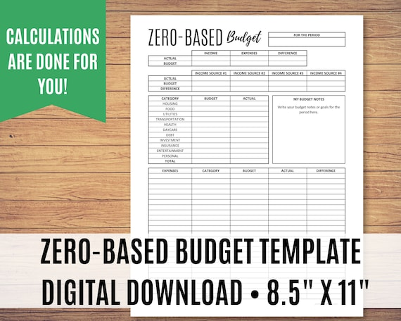 Zero-Based Budget Printable, Paycheck to Paycheck Budget Template, Weekly Budget Planner, Monthly Budget, Editable PDF