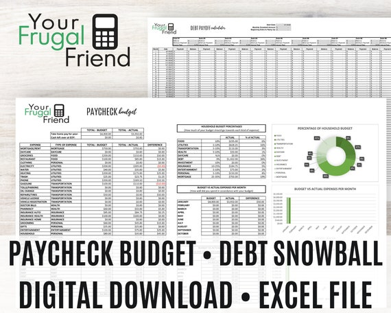 Bi-Weekly Budget Spreadsheet, Paycheck to Paycheck Budget, Annual Budget Template, Debt Snowball Calculator, Personal Finance Bundle, Excel