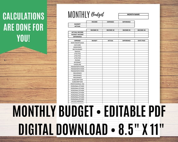 Printable Budget Planner, Monthly Budget Printable, Budget Planner, Editable PDF - Calculations done for you!
