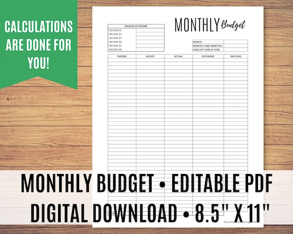 Printable Monthly Budget, Budget Template Printable, Zero Dollar Budget, Monthly Budget, Editable PDF - Calculations done for you!