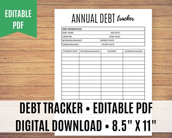 Debt Tracker Printable, Debt Payoff, Debt Free Chart, Debt Planner - Editable PDF