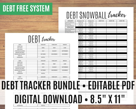 Debt Tracker Printable, Monthly Debt Tracker, Debt Snowball Printable, Debt Free Chart, Debt Planner - Editable PDF