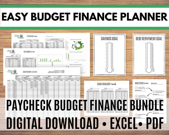 Personal Finance Spreadsheet, Personal Finance Planner, Debt Snowball, Cash Envelopes, Paycheck Budget Spreadsheet