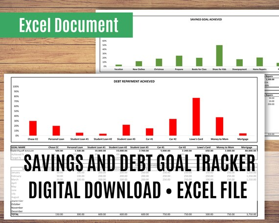 Debt Tracker Spreadsheet, Savings Tracker Spreadsheet, Excel Spreadsheet, Sinking Funds, Goal Thermometer, Spreadsheet Template
