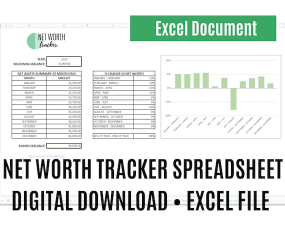 Net Worth Tracker Template, Personal Wealth, Spreadsheet, Excel Download