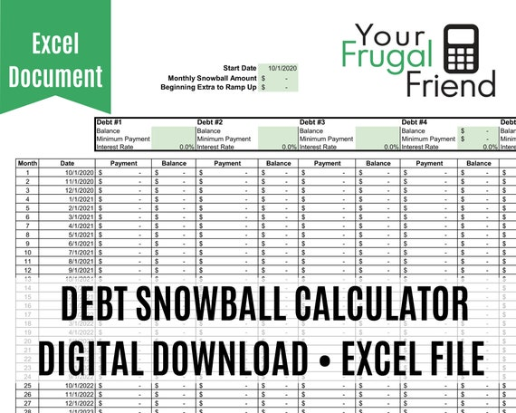 Debt Payoff Calculator Spreadsheet - Debt Snowball, Excel, Student Loan and Credit Card Debt Tracker