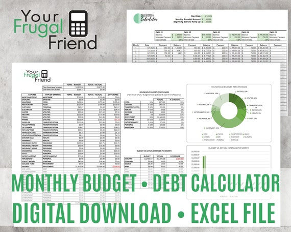 Spreadsheet Budget, Zero-Based Budget, Debt Snowball Calculator, Personal Finance Bundle, Excel Download