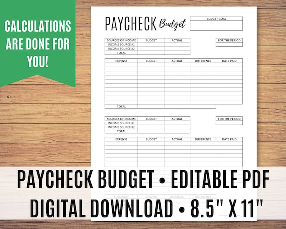 "Paycheck to Paycheck Budget Template, Zero-Based Budget Printable, Editable PDF, Bi-Monthly Budget, Weekly Budget, Sizes 8.5"" x 11"", A4, A5"