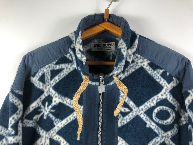 Rare Vintage Fleece Bad Boys Made In Italy Full Zip Hoodie Sweatshirt Size L Multicolor retro hipster wear abstract pattern winter ski style
