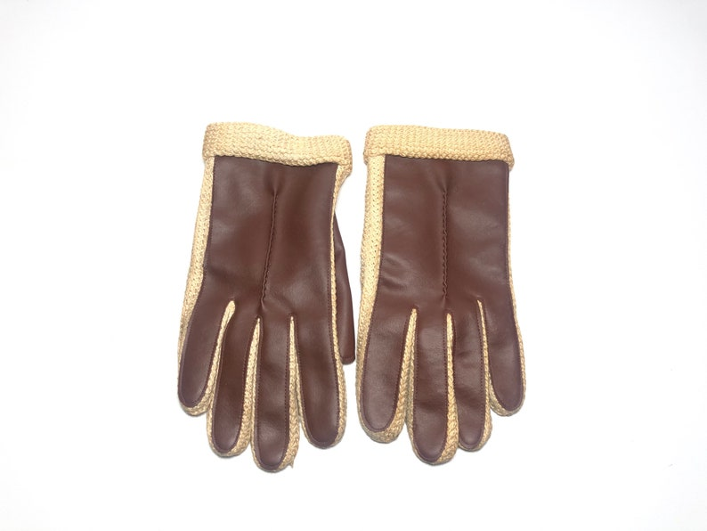 Rare Vintage Keynote Gloves Brown Beige Leather Made In Hong Kong Size L Driving Gloves Large Faux Leather Beige Brown BN Littlewoods