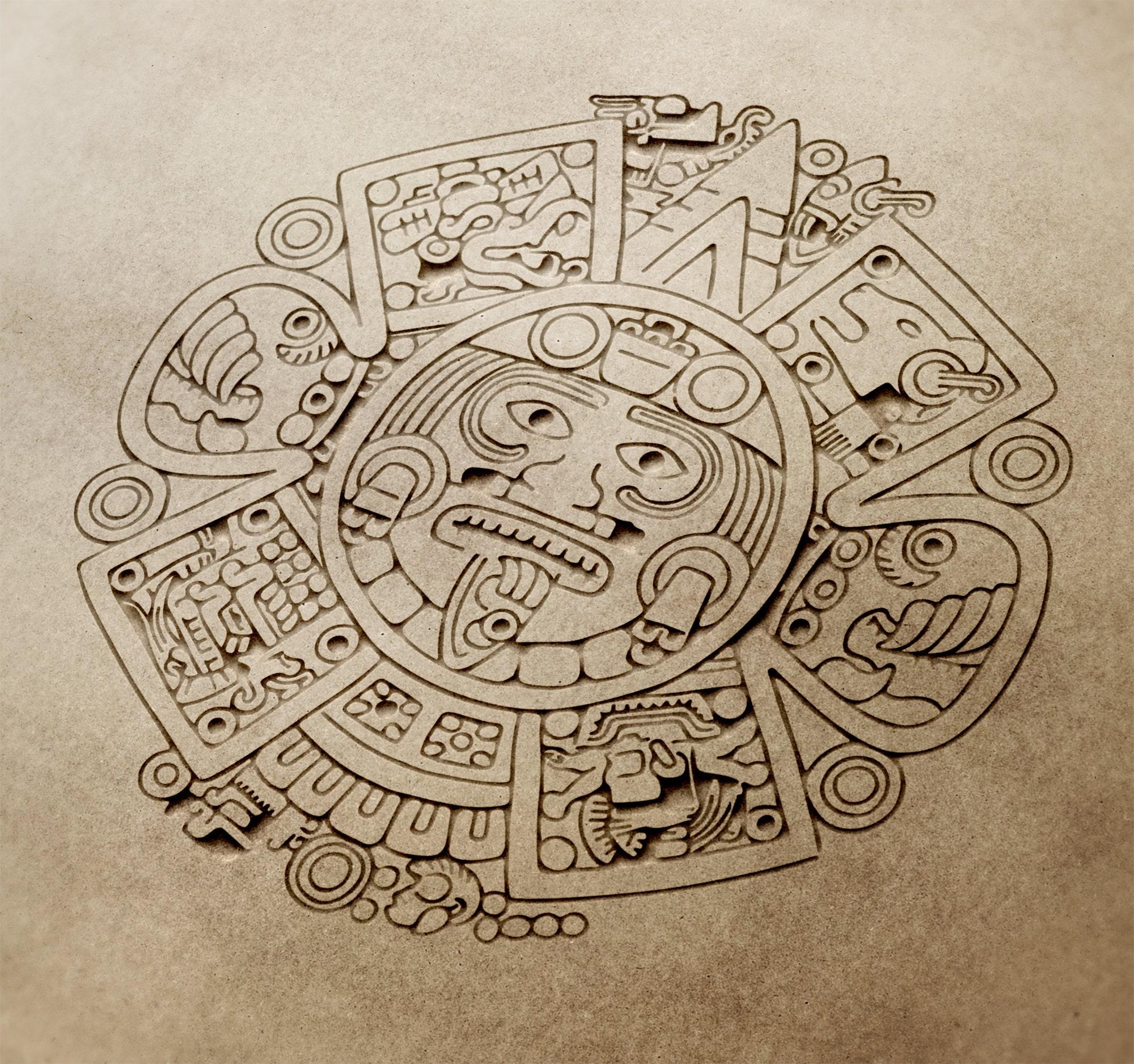 Aztec Calendar 2021 New Style 3 Vector dxf cdrsvg Ai Cdr ...