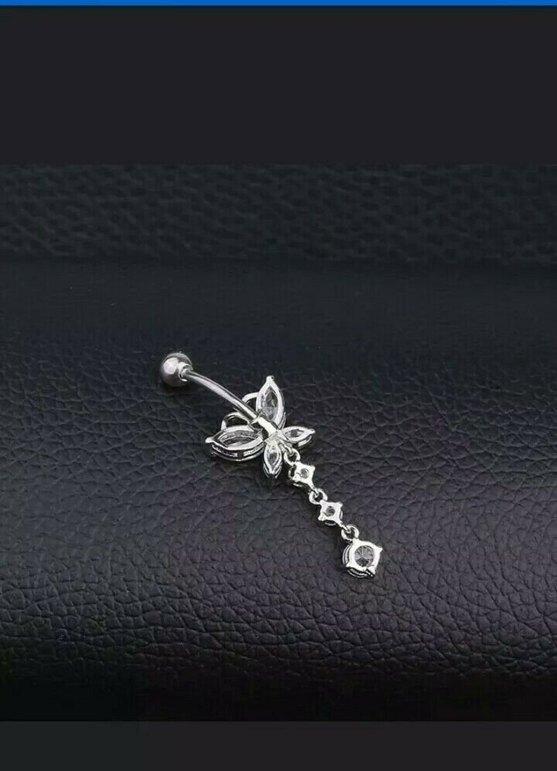 14k White Gold Over Round /& Marquise Diamond Butterfly Dangle Belly Button Ring