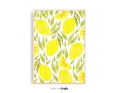 Lemon Watercolor Art Print For Instant Digital Download | Watercolor Poster | Minimalist Decor Printable | Print | Kitchen Wall Decor