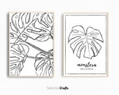 Monstera Deliciosa Art Print Set For Instant Download |  Scandinavian Poster | Minimalist Decor | Decor Printable |  Digital Download |