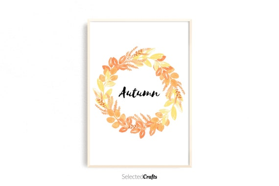 Autumn Wreath Watercolor Art Print | Handmade Fall & Autumn Poster | Hand Painted Aquarell | Printable | Digital Download | JPG and PDF
