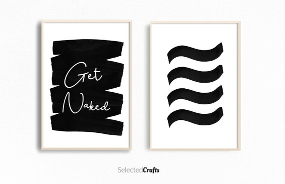 Abstract Art Print Set for Digital Download Perfect for Scandinavian or Minimal Home Decor | Printable Wall Art |  Get Naked Bathroom Art |