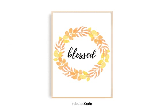 Autumn Wreath Blessed Watercolor Art Print | Handmade Fall & Autumn Poster | Hand Painted Aquarell | Printable | Digital Download | JPG PDF