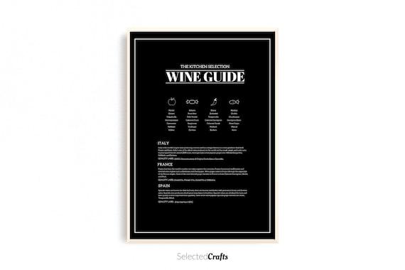 Wine Guide Kitchen Art Print | Wine poster | Kitchen Decor | Kitchen Printable | Restaurant Decor | Digital Download | Scandinavian Wall Art